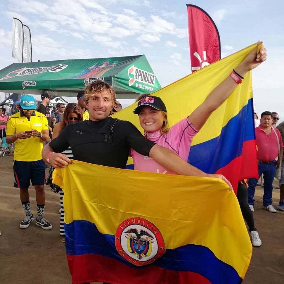 Giorgio and Isabella Gomez, from Colombia lead the ranking in Men's and Women's SUP Surfing. Giorgio is also set to represent his country in Men's SUP Race. Photo: Fecolsurf